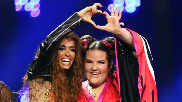 Eleni Foureira (left), Netta Barzilai (right). Photo AP