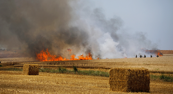 שריפה בשדות חיטה בעוטף עזה , צילום: רויטרס