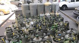 מכלי גז פרטי זירת הבריאות, צילום: מפקחי מינהל הדלק והגז במשרד האנרגיה