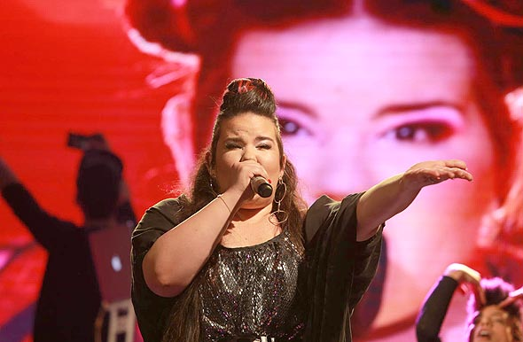 Netta Barzilai performing in Tel Aviv following her Eurovision win in May. Photo: Orel Cohen