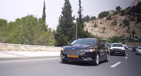 Mobileye's autonomous vehicle goes for a test drive in Jerusalem. Photo: Mobileye