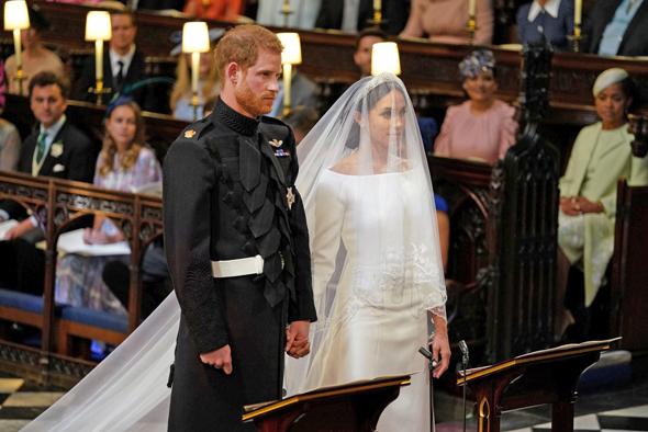 בני הזוג הארי ומייגן מרקל בטקס החתונה, צילום: רויטרס