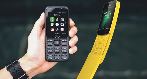 מימין: נוקיה 8110 החדש ו-Jio Phone, המכשיר שכובש את הודו