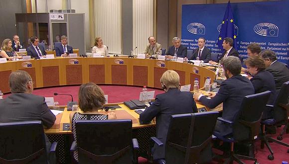 צוקרברג מול האיחוד האירופי, צילום מסך: שידור חי יוטיוב