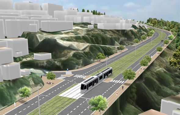 """הדמיית הרכבת הקלה מחיפה לנצרת , צילום: יח""""צ"""