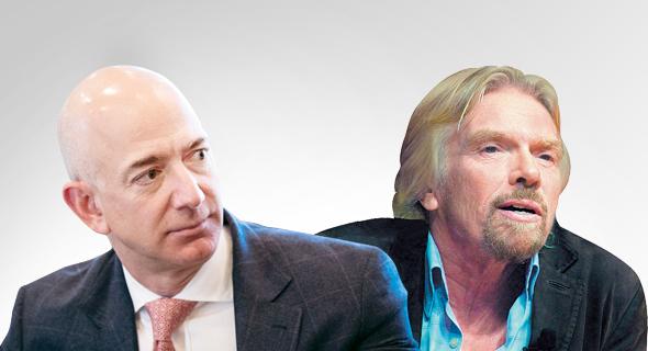 "מימין ריצ'רד ברנסון ומנכ""ל אמזון ג'ף בזוס חדש, צילום: בלומברברג, גטי אימג'ס"