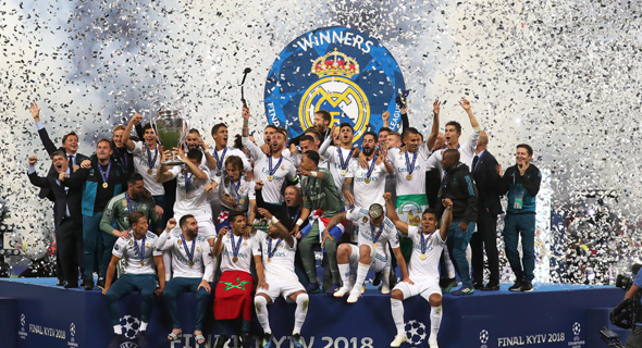 ריאל מדריד חוגגת את הזכייה האחרונה בליגת האלופות, מאי 2018