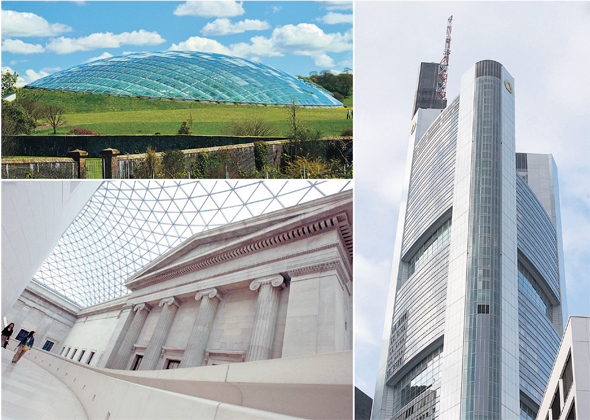 הכוכבים של ספנסר. מימין: מגדל קומרצבנק בפרנקפורט, המגדל הגבוה בגרמניה (56 קומות), החממה בגנים הבוטניים של וולס, הגדולה בעולם והכיכר המרכזית של המוזאון הבריטי, הכיכר המקורה הגדולה באירופה (8 דונם), צילומים: אי, פי, FLICKR BY Steffan John , רויטרס