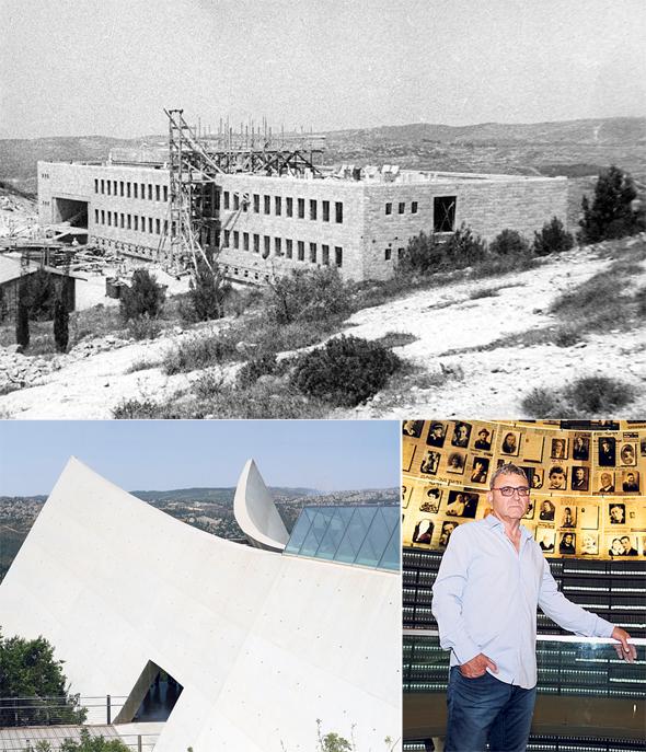 """בניין המנהלה והארכיון (למעלה), חצקלביץ ובניין המוזיאון החדש. """"שמרנו על הצורה והחומרים המקוריים"""""""