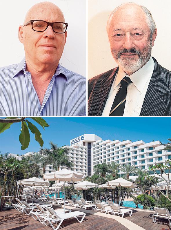 דייויד לואיס (למעלה מימין) ואלחנן נוי. מלון המלך שלמה. חולל מהפכה במלונאות הנופש בישראל