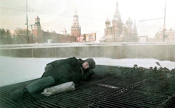 הומלסים במוסקבה, צילום: אי פי איי