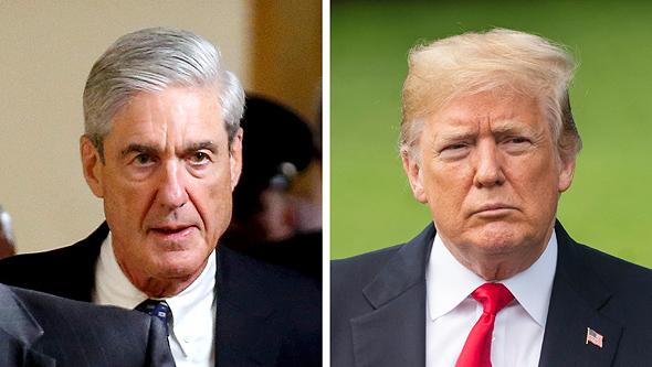 "מימין נשיא ארה""ב דונלד טראמפ וחוקר FBI רוברט מולר, צילום: אי פי איי, רויטרס"