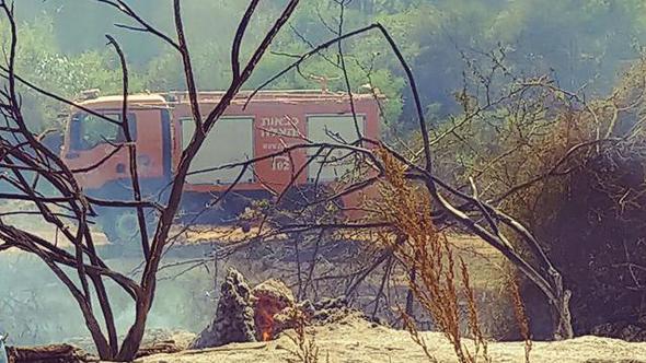שריפה ליד קיבוץ כרמיה בעוטף עזה