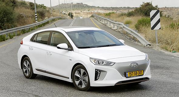 An electric car made by Hyundai. Photo: Amit Sha'al