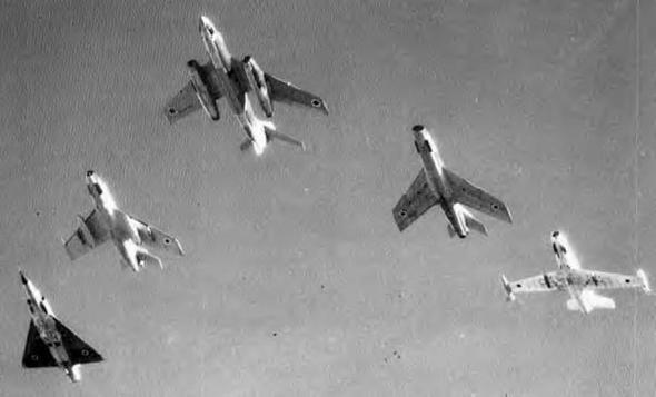 מטוסי חיל האוויר הישראלי. מימין: אורגאן, סופר מיסטר, ווטור, מיסטר 4 ומיראז' 3