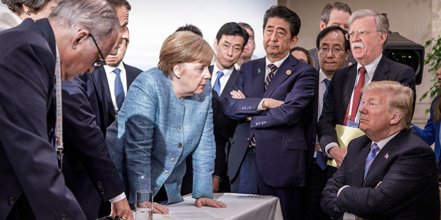 דונלד טראמפ מול מנהיגי מדינות בפסגת G7. עוזרי הבית הלבן נבהלו מהדיווח, צילום: אי פי איי