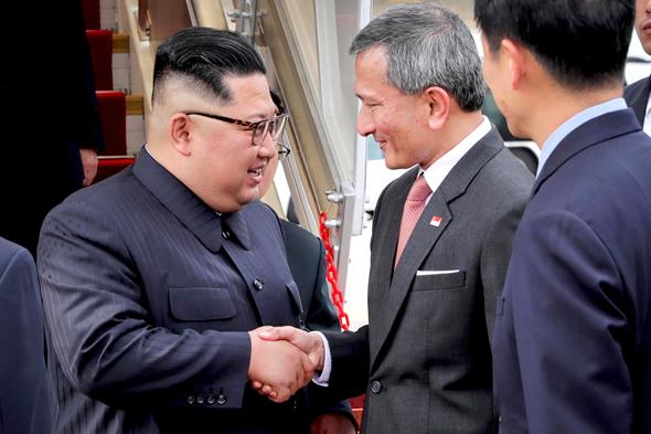 מימין שליט סינגפור לי סיין לונג ו מנהיג צפון קוריאה קים ג'ונג און, צילום: איי פי