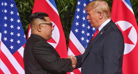 """נשיא ארה""""ב דונלד טראמפ ושליט צפון קוריאה קים ג'ונג און, צילום: אי פי איי"""