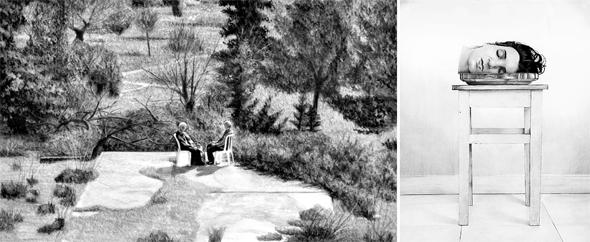ציורים של שחאדה: מימין - טבע דומם, 2015; הבית שלנו, 2018