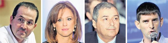 """מימין: מנכ""""ל ישראכרט רון וקסלר, מנכ""""ל בנק הפועלים אריק פינטו, מנכ""""לית בנק לאומי רקפת רוסק־עמינח ומנכ""""ל לאומי קארד רון פיינרו"""