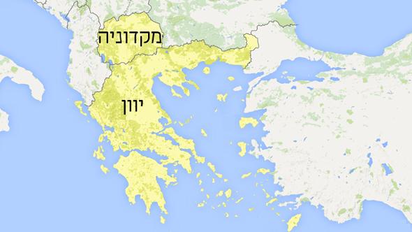 מפת מקדוניה ויוון