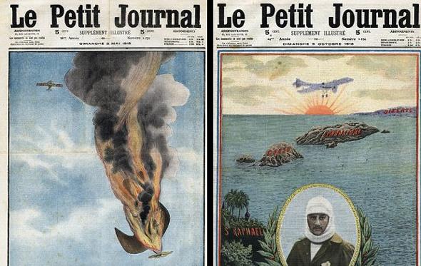 מימין: שער עיתון שחוגג את חציית הים התיכון בידי גארוס, שער שמבכה את מותו