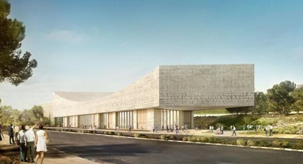 הדמיית מבנה הספרייה הלאומית החדש