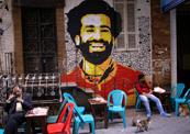 תמונה של מוחמד סלאח שחקן ליברפול ב קהיר מצרים, צילום: רויטרס