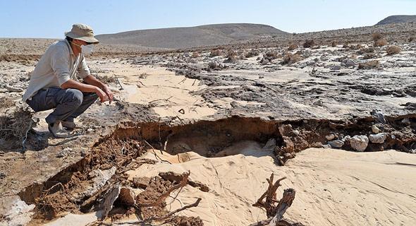 פקח רשות שמורות הטבע דוגם את נזקי דליפת החומצה לנחל אשלים