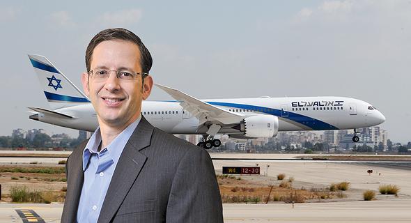 ברק עילם מנכל נייס על רקע מטוס אל על, צילום: שאול גולן, עמית שעל
