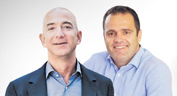 """מימין מנכ""""ל באזזר אודי שרון ומייסד אמזון ג'ף בזוס, צילום: דוד אלמישלי, בלומברג"""