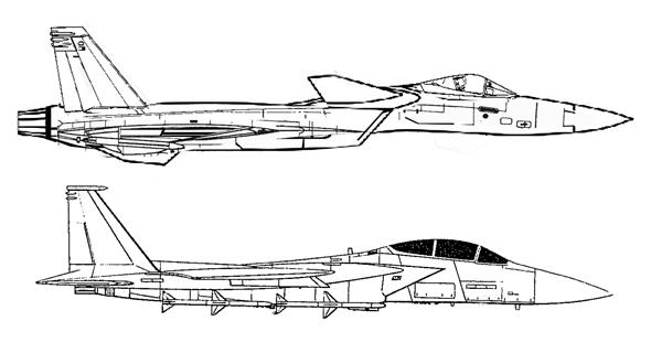 מטוס האריה ומתחתיו מטוס ה-F15