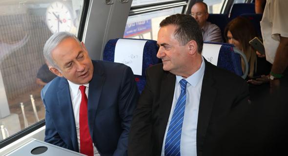 ישראל כץ בנימין נתניהו רכבת השרון 2.7.18, צילום: משרד התחבורה