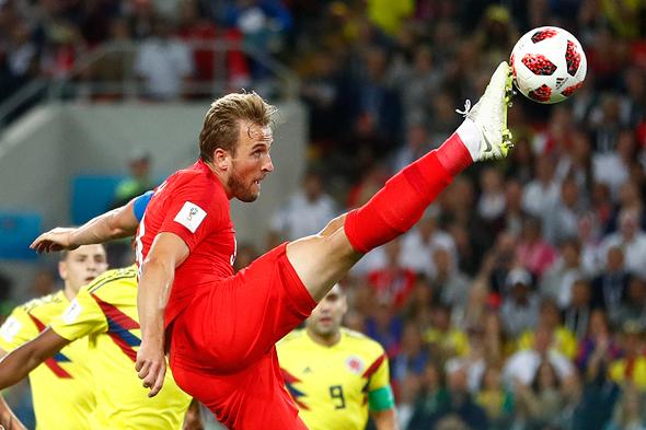 אנגליה מול קולומביה, אמש, צילום: איי פי