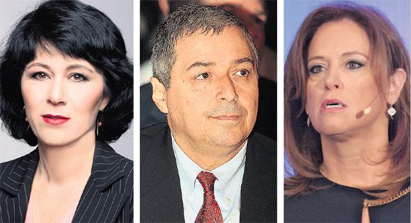 """מימין: מנכ""""לית לאומי רקפת רוסק עמינח; מנכ""""ל הפועלים אריק פינטו; והמפקחת על הבנקים חדווה בר"""