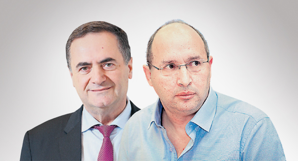 מימין אבי ניסנקורן ו ישראל כץ, צילום: אוראל כהן, אלכס קולומויסקי