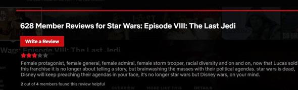ביקורת מיזוגנית על סרט מסדרת מלחמת הכוכבים, צילום מסך מנטפליקס