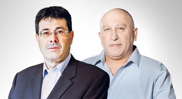 """מנכ""""ל בנק מזרחי אלדד פרשר ומנכ""""ל בנק יהב שאול גלברד, צילום: אוראל כהן, עמית שעל"""