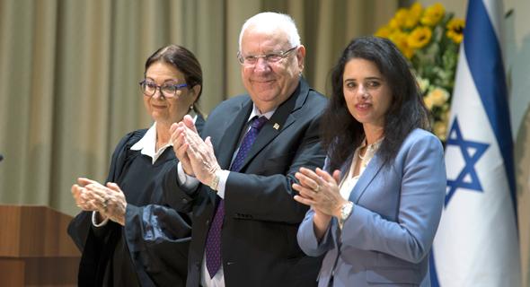 """מימין: שרת המשפטים איילת שקד, נשיא המדינה ראובן ריבלין ונשיאת ביהמ""""ש העליון אסתר חיות"""