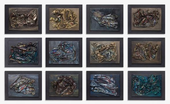 """""""מעבר"""", עבודה של דינה רקנאטי בתערוכה """"קרוב"""". גם בציורים יש אלמנטים פיסוליים"""