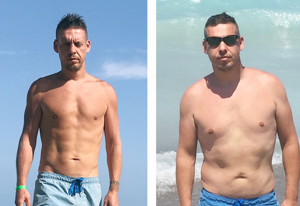 רונן קליין לפני האימונים ברשת EMS club (מימין) ואחריהם (משמאל), צילום: באדיבות רונן קליין ורשת EMS club