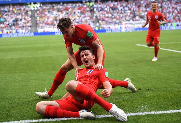שחקני אנגליה חוגגים ברבע הגמר