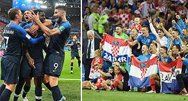 מימין שחקני קרואטיה שחקני צרפת חוגגים ניצחונות בחצי גמר המונדיאל 2018, צילום: אם סי טי