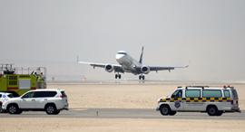 First plane lands at Ramon airport Monday. Photo: Yair Sagi
