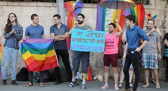 """הפגנה של קהילת הלהט""""בים: לאפשר פונדקאות לבני אותו מין, צילום: אלכס קולומויסקי"""