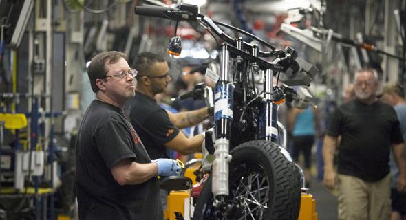 """מפעל של הארלי דיווידסון בפנסילבניה. החברה רוצה להעביר את חלק מהייצור מחוץ לארה""""ב"""