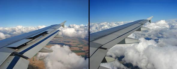 מצב מדפי הכנפיים. מימין: מצב סטנדרטי; משמאל: מדפים פתוחים, להגדלת שטח הכנף