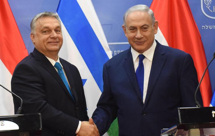 """נתניהו עם אורבן בביקורו בישראל, בחודש שעבר. """"זה שיתוף פעולה מביש, סיוע לראש ממשלה פופוליסט מהימין הקיצוני בביצור כוחו"""""""