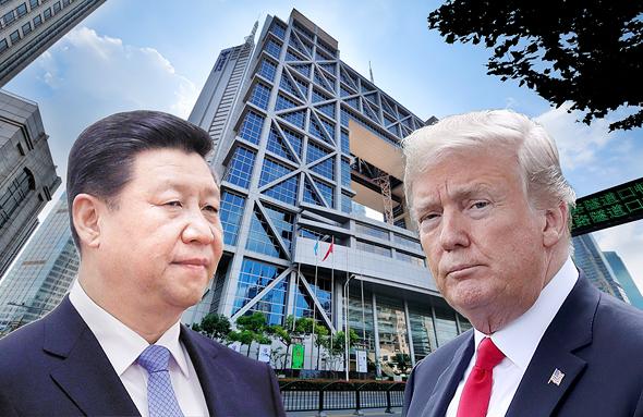 "מימין: נשיא ארה""ב דונלד טראמפ ונשיא סין שי ג'ינפינג על רקע בורסת שנגחאי"