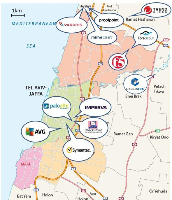 Cybersecurity companies with a presence in Israel. Map: Glilot Capital